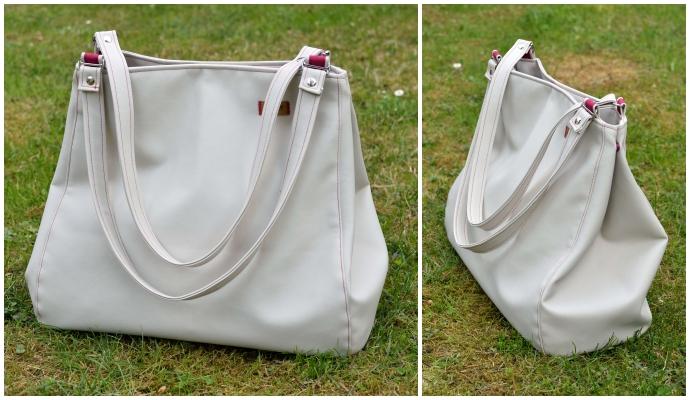 Verkleinerte Variante der Edelshopper-Tasche von vorne und seitlich.