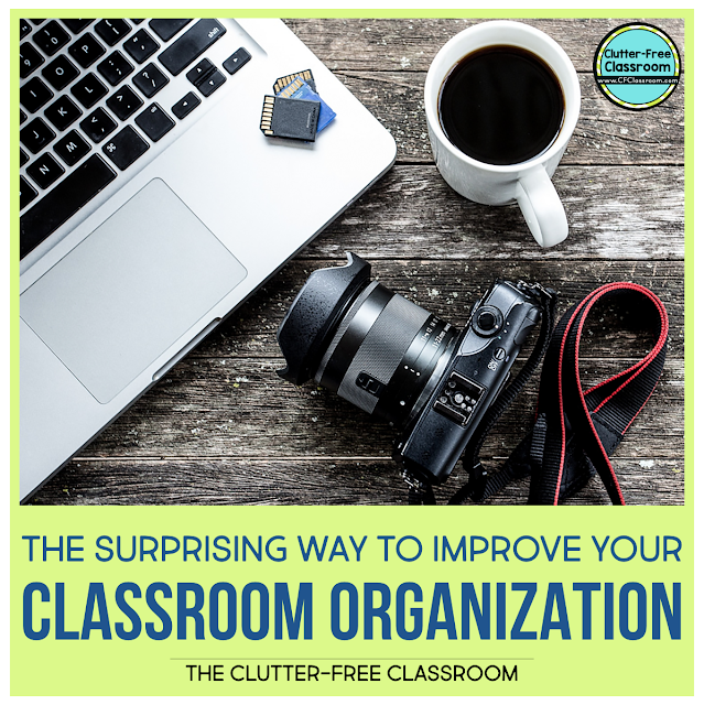 HOW TO DECLUTTER AND ORGANIZE A CLASSROOM Decluttering can be simple and cheap. These organization ideas and strategies and hacks from the Clutter Free Classroom will help you become a super organized teacher with a clean classroom and not just hide it in storage containers and bins.  Keep your students focused, on task, and free from distraction. #classroomorganization #cfclassroom #clutterfreeclassroom