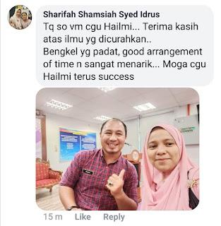 Feedback di Facebook daripada salah seorang peserta bengkel. Terima kasih cikgu!