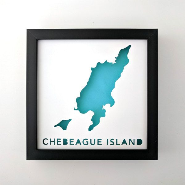 papercut modern map in black square frame