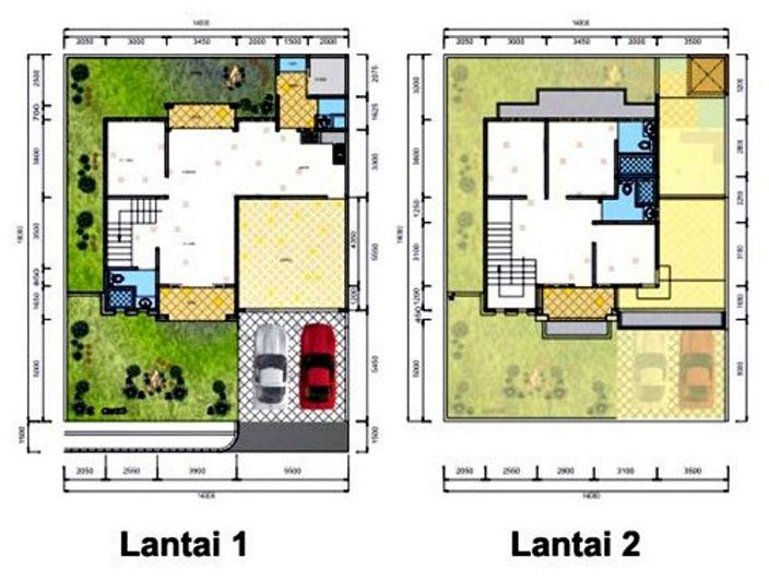 denah rumah luas 120m terlihat minimalis