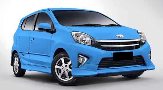 Tampilan Mobil Toyota Agya Biru
