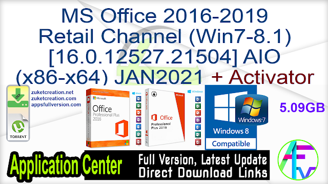 MS Office 2016-2019 Retail Channel (Win7-8.1) [16.0.12527.21504] AIO (x86-x64) JAN2021 + Activator