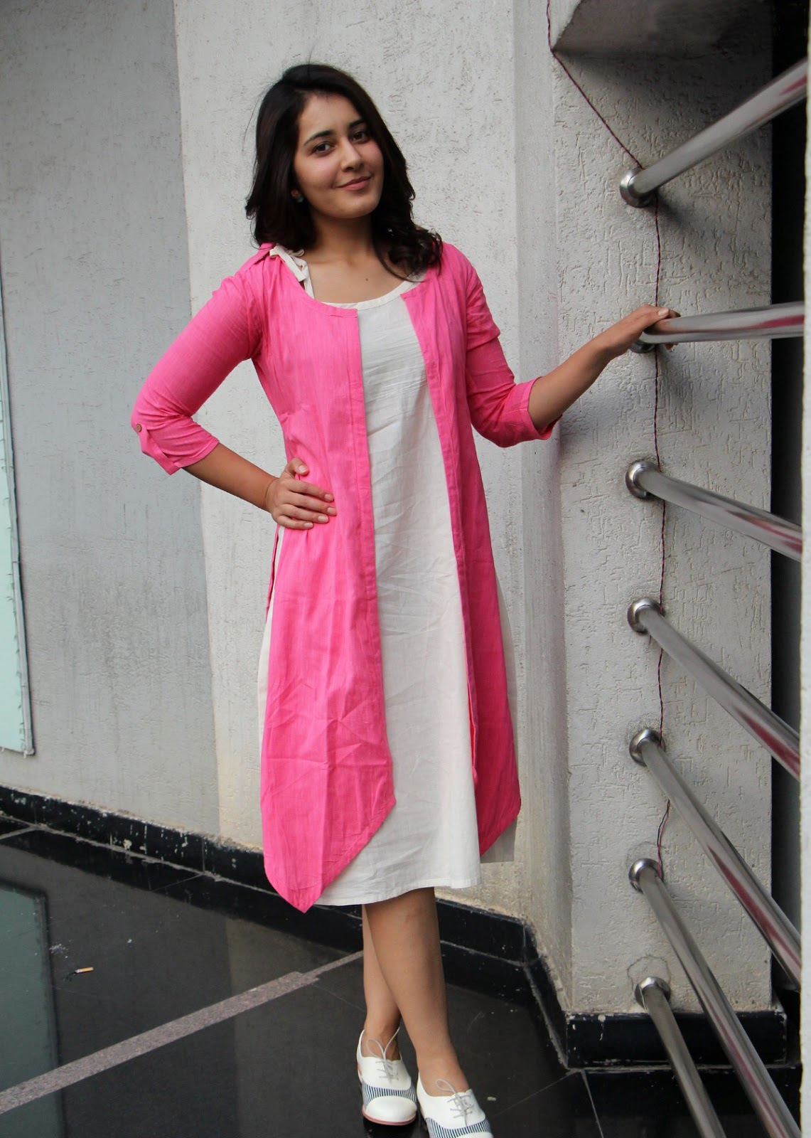 Raashi Khanna Cool Look In Summer Cotton Pink and Cream Outfit