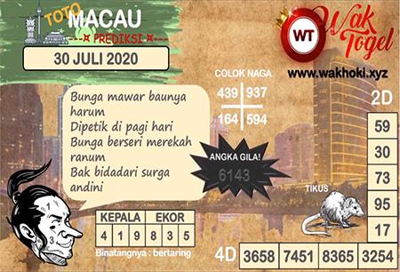 Prediksi Wak Togel Toto Macau Kamis 30 Juli 2020