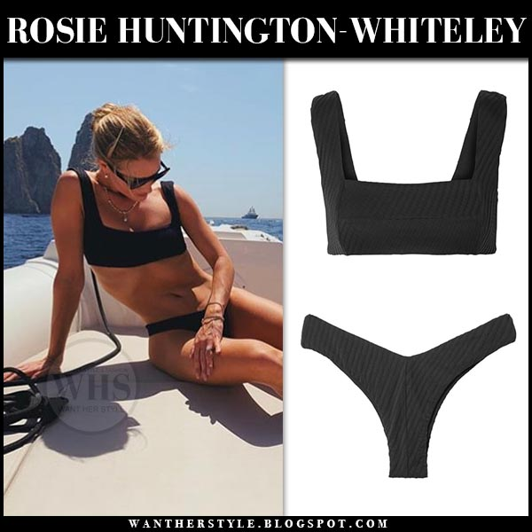 Rosie Huntington-Whiteley in black fella bikini on a yacht in capri. celebrity beach style