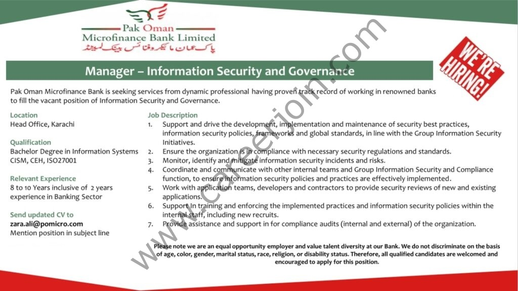 Pak Oman Microfinance Bank Limited Jobs Manager Information Security and Governance