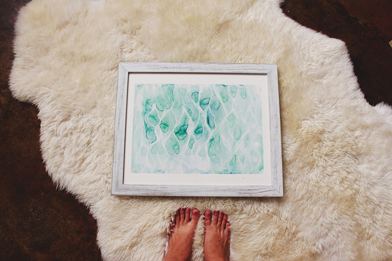 sheepskin rug, white rug, ocean painting