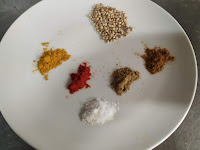 Coriander seeds,red chilli powder, Cumin powder Garam masala salt for samosa recipe
