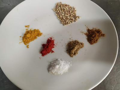Coriander seeds,red chilli powder, Cumin powder Garam masala salt for samosa recipe