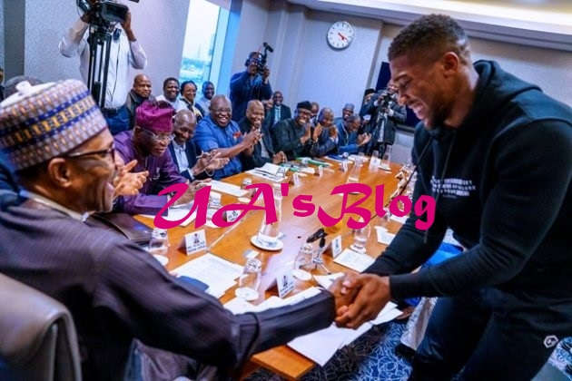 Anthony Joshua Prostrates As He Presents Heavyweight Titles To Buhari In UK (Photos)