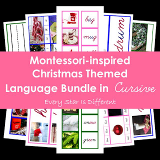 Montessori-inspired Christmas Themed Language Bundle in Cursive