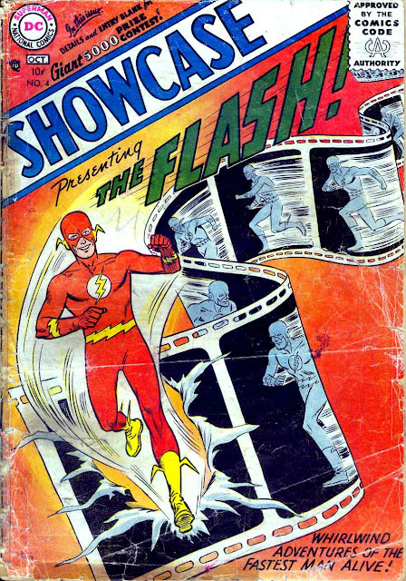 Showcase v1 #4 dc comic book cover art by Joe Kubert (Flash)