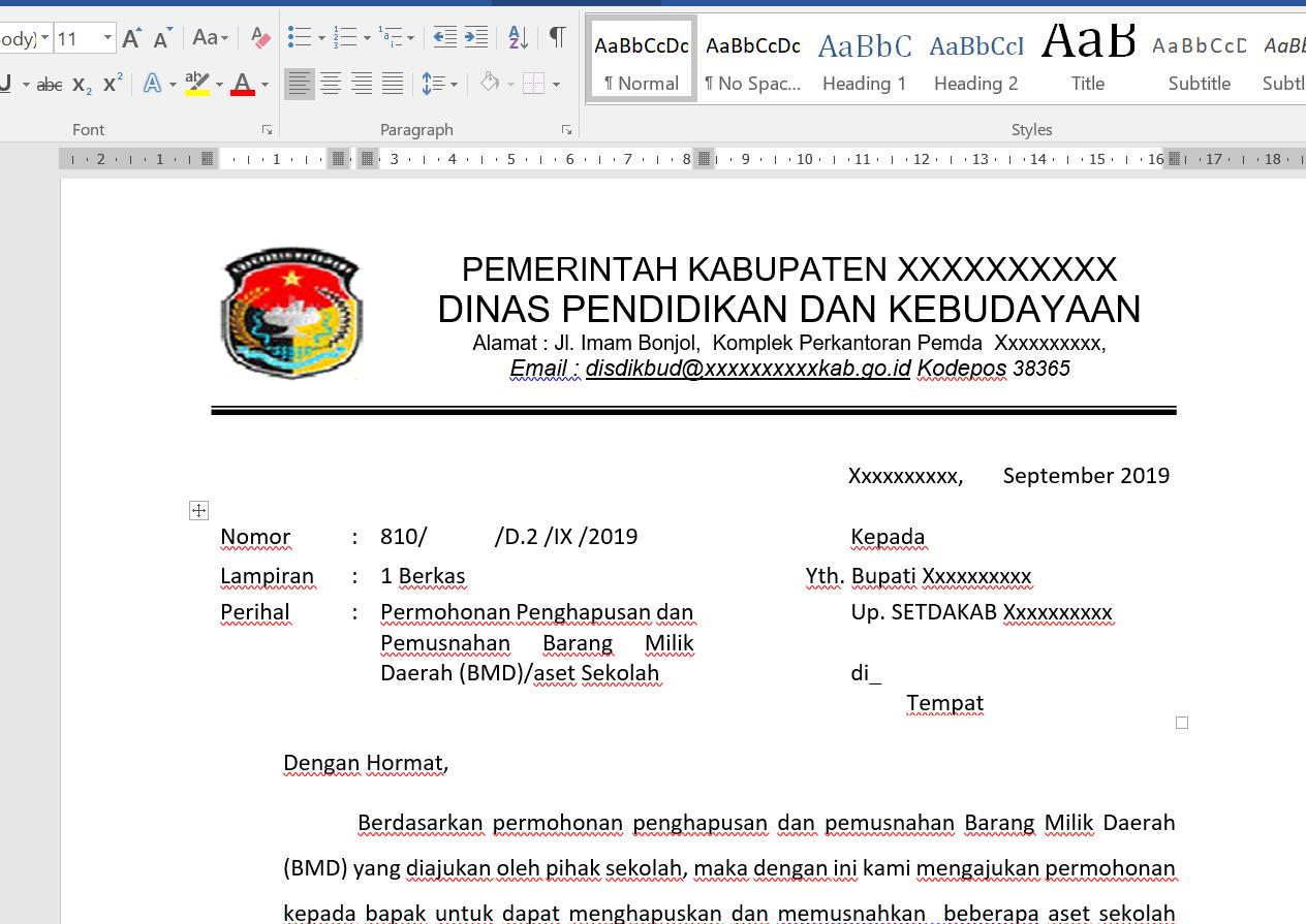 Surat Usulan Penghapusan Aset Barang Milik Daerah Semua Surat