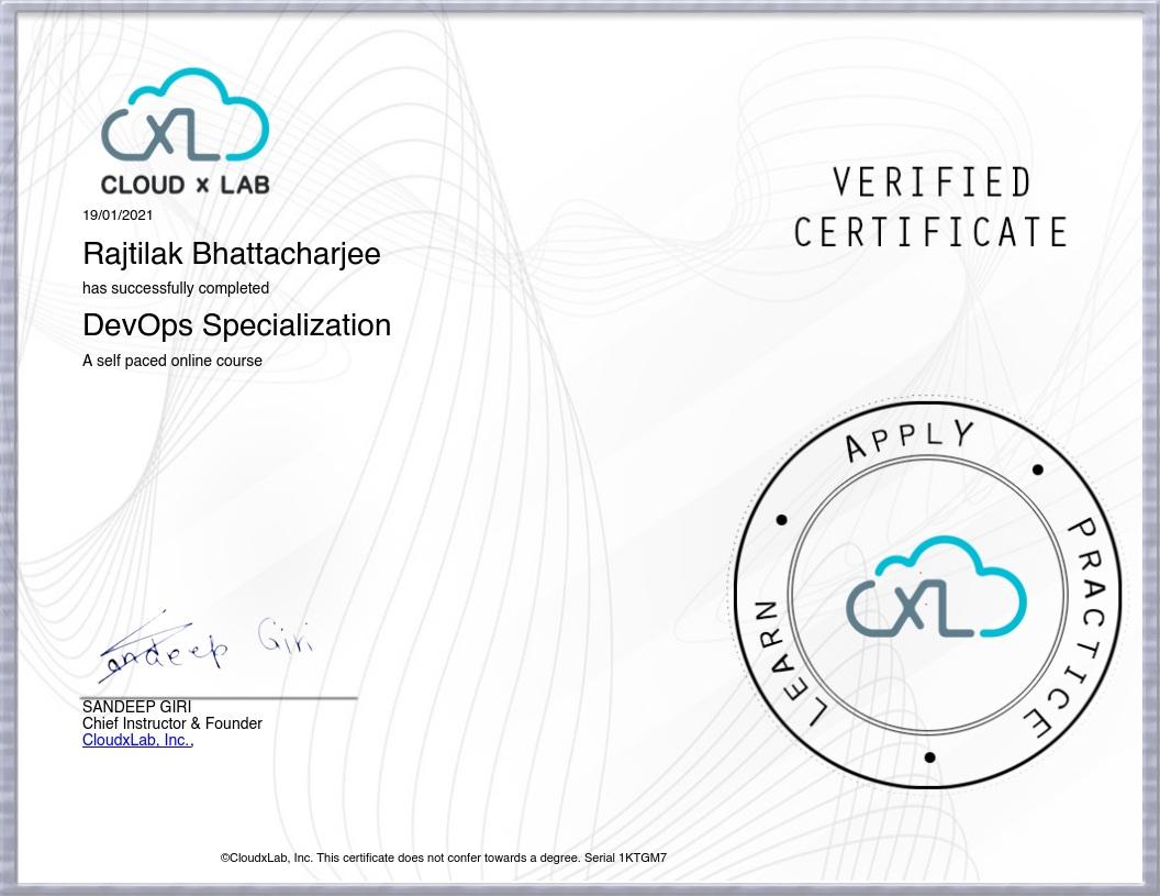devops specialization certificate from cloudxlab