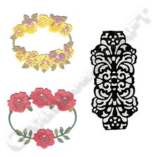 2 floral frames & 1 lace wrap dies. £13.99 or pay just over £4 today on flexipay!