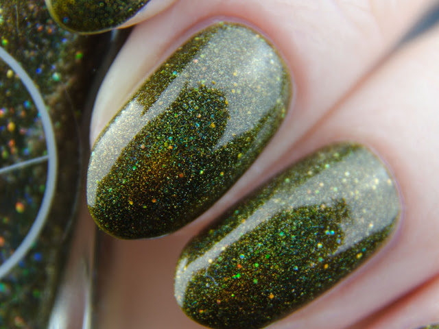 "Painted Polish ""Moss Meditation"" holo swatch"