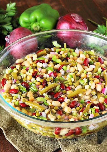 Dinner Large Bowl of Marinated Many-Bean Salad Image