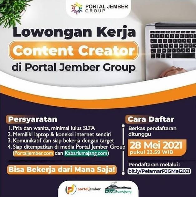 Lowongan Kerja Content Creator Portal Jember Kabar Lumajang Laros Media Portal Berita Lokal Dan Dunia Kerja