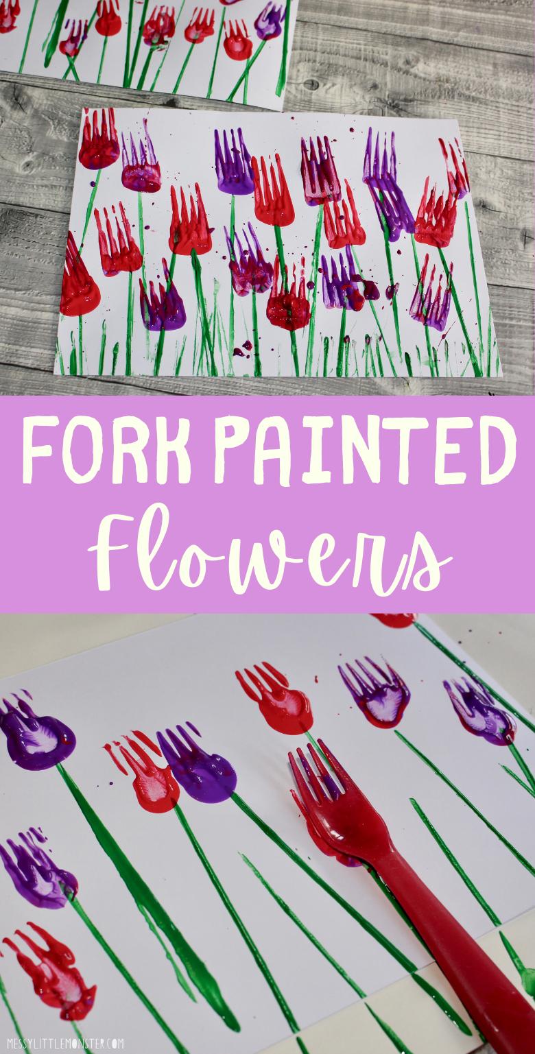Fork painting for kids. Fork flower painting.