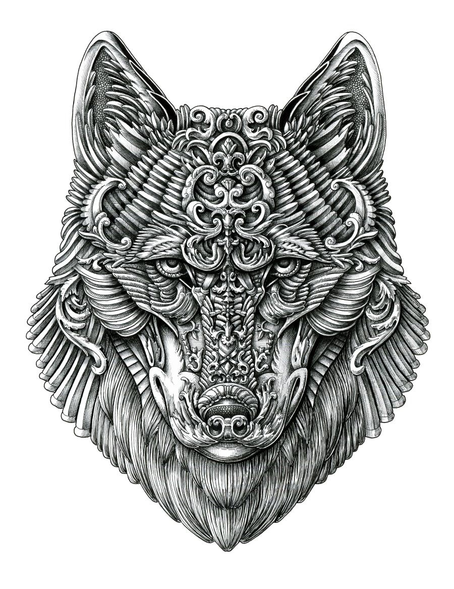 01-Wolf-Alex-Konahin-Ornate-Details-in-Animal-Drawings-www-designstack-co