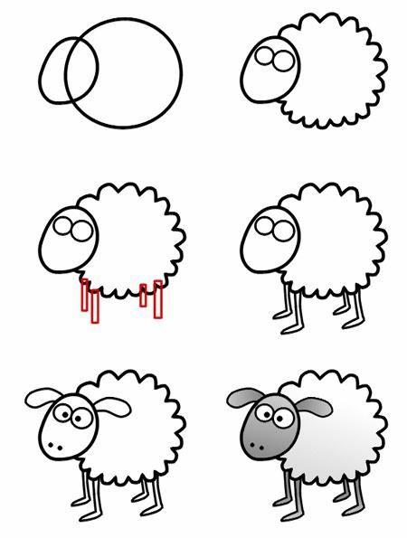 كيفية رسم خروف للاطفال