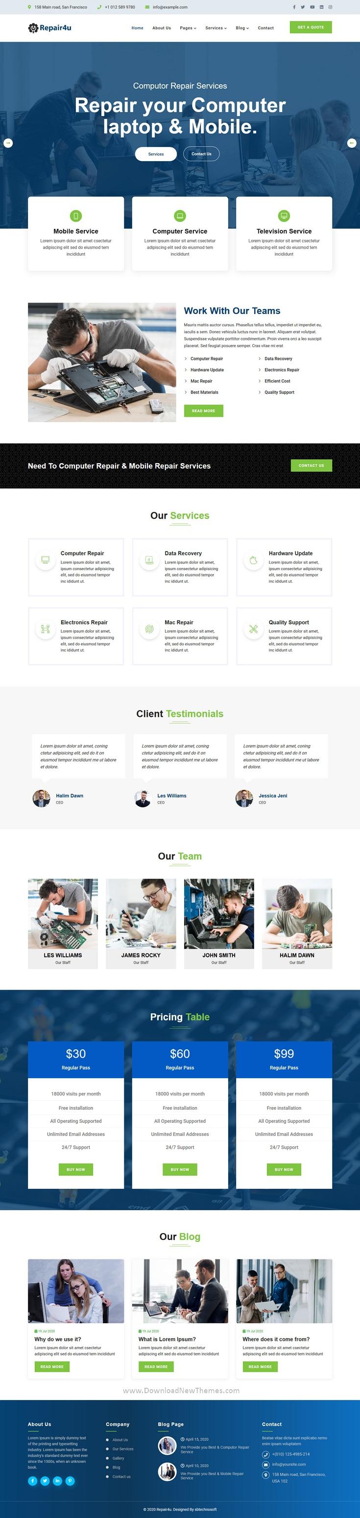 Computer & Mobile Repair Website Template