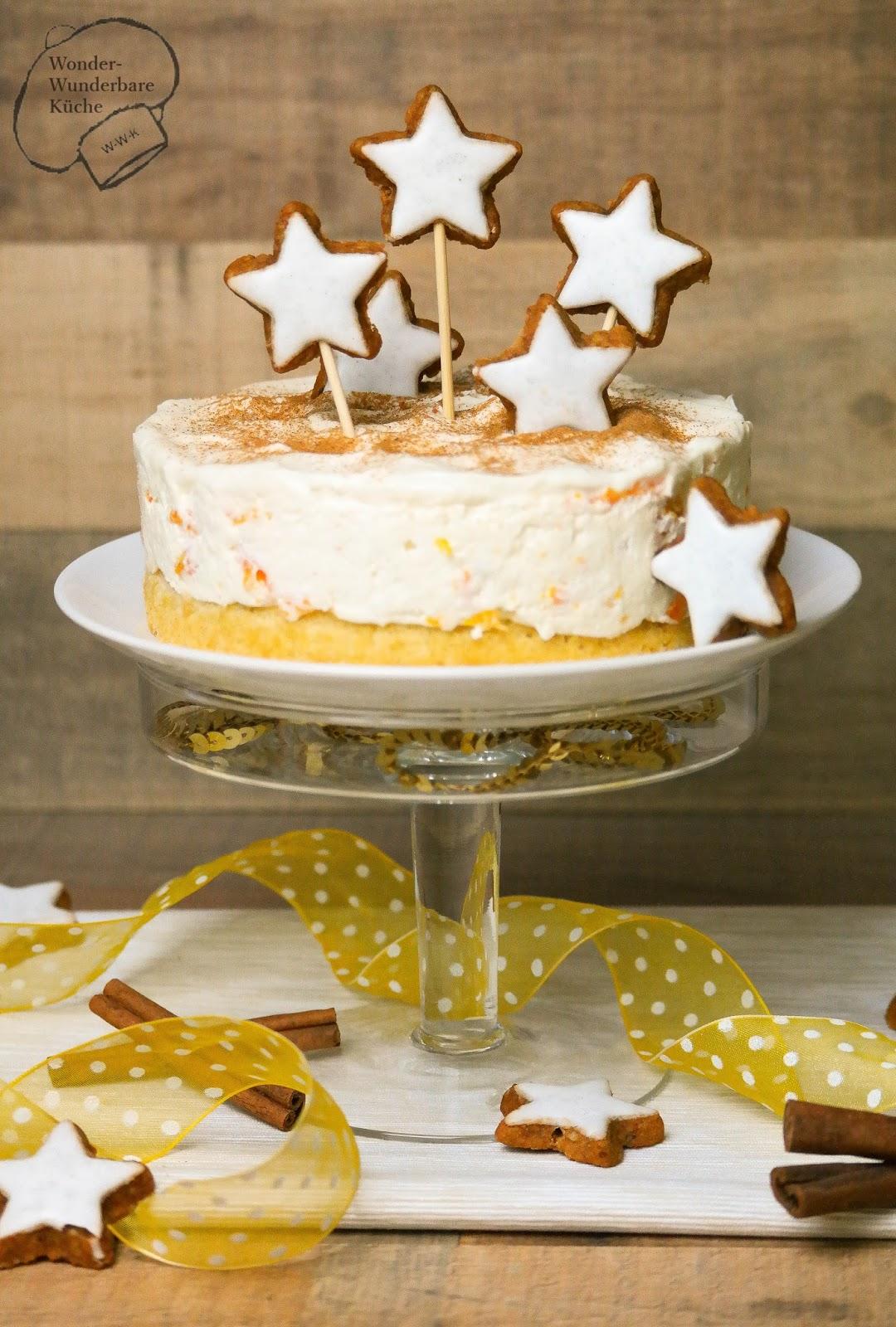 Kleine Kuchen Mascarpone Zimtstern Torte Mit Mandarinen