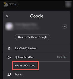 Cách xóa những gì vừa tìm kiếm trên Google