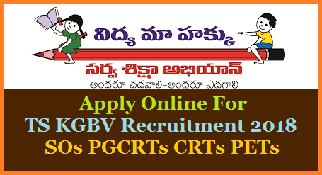 SSA Telangana Inviting Online Application Forms for TS Kasthurbha Gandhi Balika Vidyalaya KGBV CRTs PGCRTs Special Officers PETs from Eligible Candidates for number of Vcancies. TSSA Issued Recruitment Notification for Various Posts in KGBV and Urban Residential Schools in Telangana. Online application Form available at www.ssa.telangana.gov.in. Post wise Eligibility Qualifications Syllabus Exam Pattern Exam Dates for SOs PGCRTs CRTs and PETs. Apply Online at Telangana Official website http://ssa.telangana.gov.in for Post Graduate Contract Resident Teachers Special Officers Physical Education Teachers Vacancies in the State. Online Application starts on 20.06.2018 and will be available in Sarva Shiksha Abhiyan Official web portal ssa.telangana.gov.in Submission of Online Application form for TS KGBV SOs CRTs PGCRTs and PET Posts complete Schedule ts-kgbv-pgcrt-so-pet-online-application-form-ssa.telangana.gov.in-upload-submission-results-download