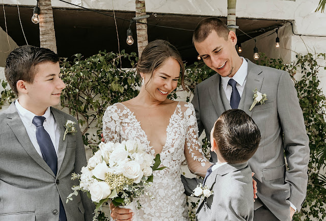 Bride and Groom with Family The Manor on St Lucie Crescent Wedding captured by Stuart Wedding Photographer Heather Houghton Photography