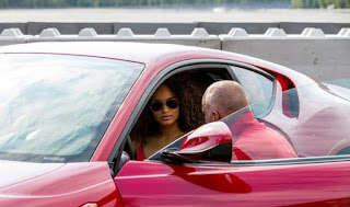 Picture of Alicia Aylies sitting inside the Ferrari