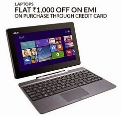 Buy Laptops on EMI with Credit Card & Get Rs.1000 Extra Off @ Flipkart + more Offers on select Models