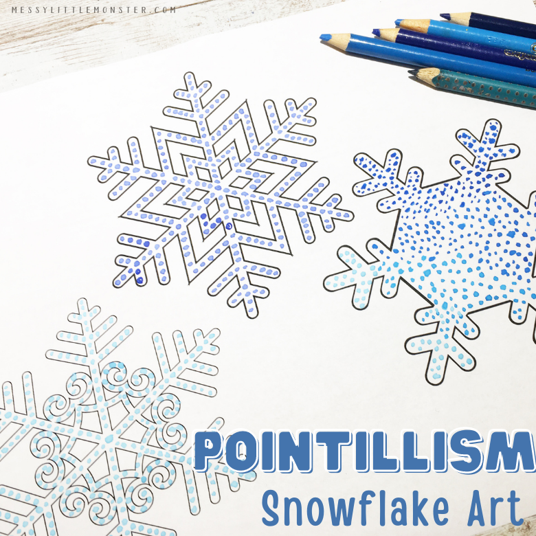pointillism snowflake art for kids