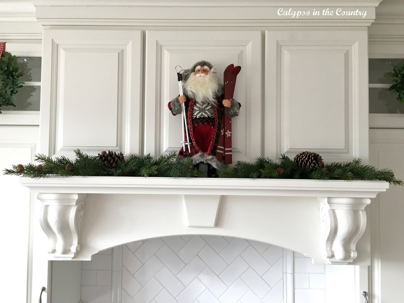 White Stove Hood with Santa