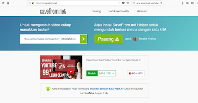 Download video youtube melalui situs id.savefrom.net