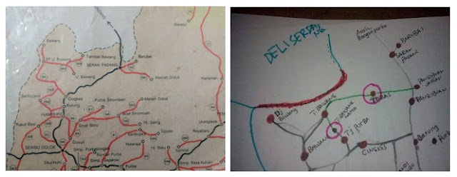 Gambar 1: Peta daerah asal sejumlah cabang marga Tarigan di Simalungun. (Peta di bawah dilukis oleh Betman Tarigan Tambak asal Tambak Bawang)