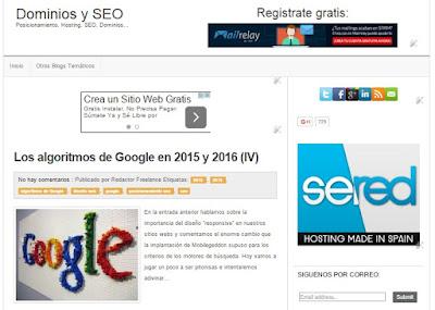 Dominios y SEO, blog sobre creación de páginas webs