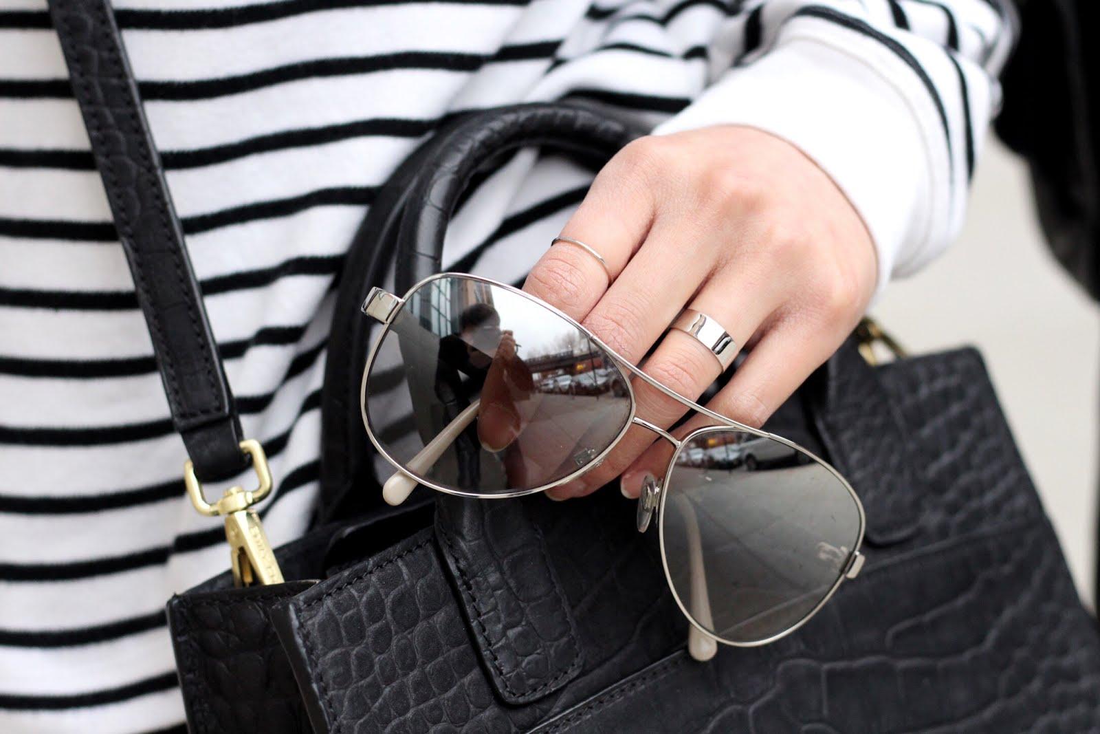 Black leather jacket Rag and Bone high waist jeans Emily Cho mini tote bag