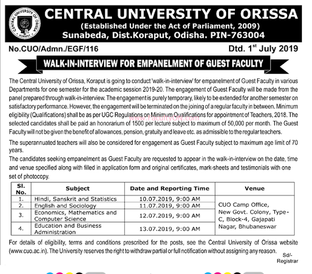 Central University Of Karnataka: Central University Of Orissa Koraput Guest Faculty Job