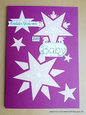 Große Babykarte für ein Mädchen mit Sternen Stampin' Up! www.eris-kreativwerkstatt.blogspot.de