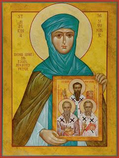 Εικ: Η αγία Μακρίνα κρατάει την εικόνα των αδελφών (και μαθητών) της αγίων Βασιλείου, Γρηγορίου και Πέτρου Σεβαστείας.