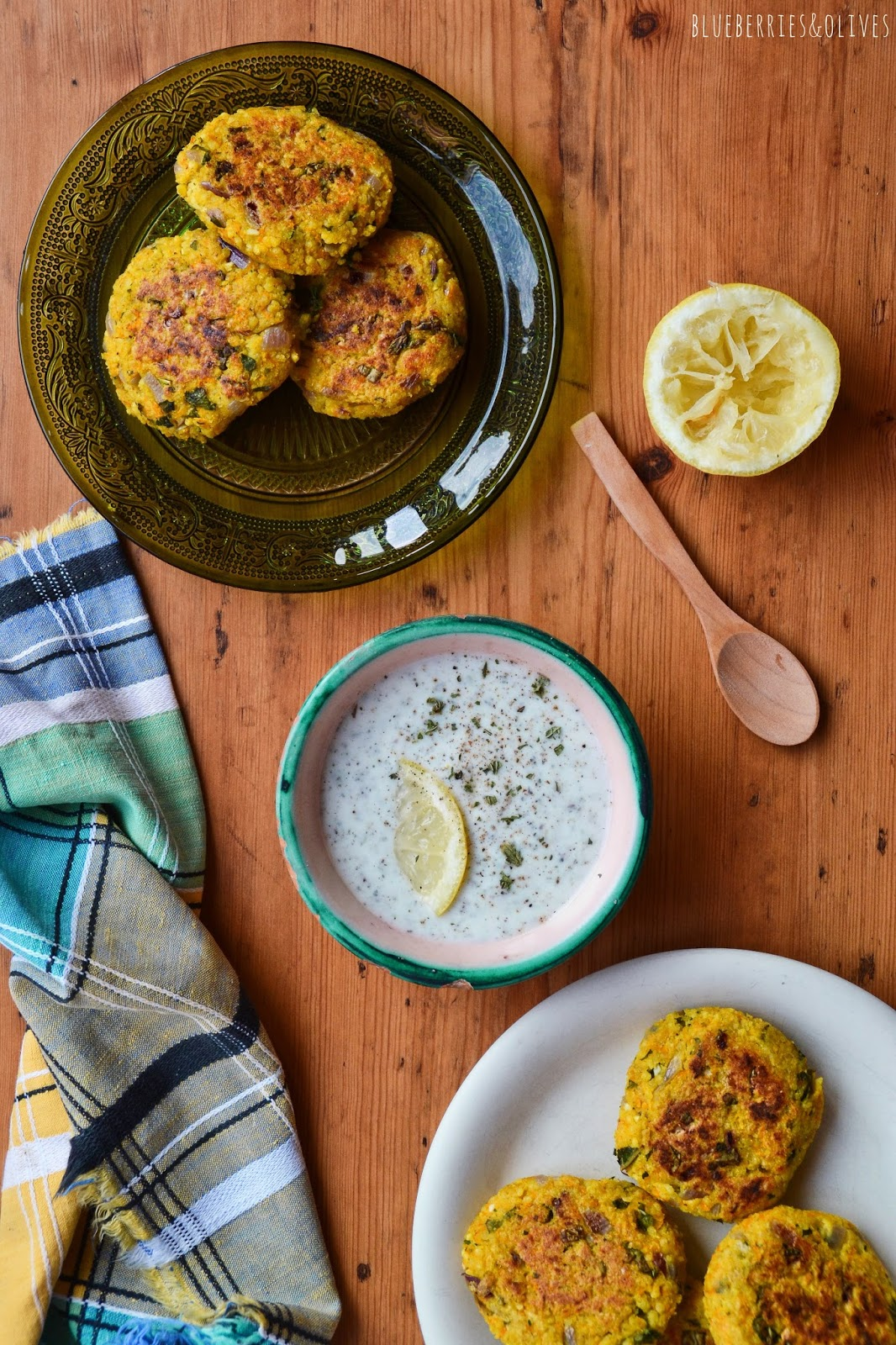 MILLET VEGGIE BURGERS WITH CURRY AND A YOGURT SAUCE (GF, LF, VGT)