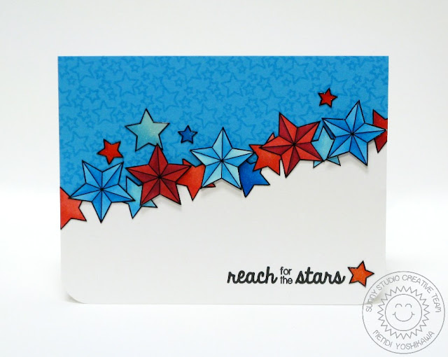 Sunny Studio Stamps: Stars & Stripes Patriotic Reach For The Stars Card by Mendi Yoshikawa