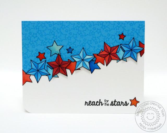Sunny Studio Stamps: Stars & Stripes Patriotic Reach For The Stars Card by Mendi Yoshikawa