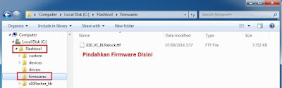 Copy firmware disk C : Flashtool / Firmware