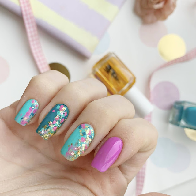 Orly-scenic-route-Barry-m-Greenberry-The-way-you-make-me-Teal-nail-art-glitter