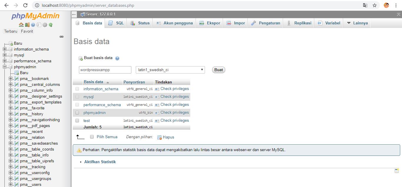 cara membuat database di xampp