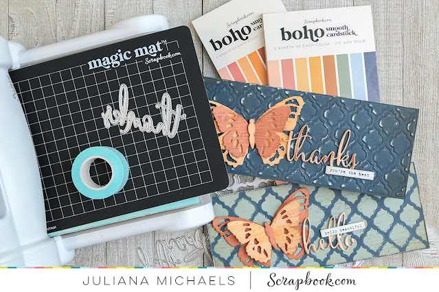 Slimline Cards by Juliana Michaels featuring Scrapbook.com Slimline Dies, Paper Pads and The Magic Mat™