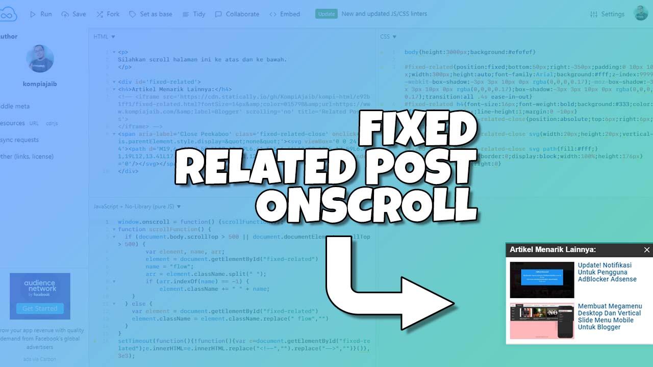 Membuat Fixed Related Post OnScroll Untuk Non AMP